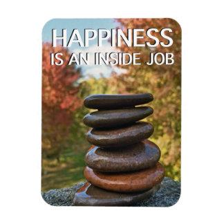 Happiness Zen Stones Motivational Inspiration Rectangular Photo Magnet