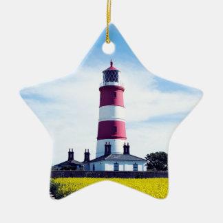 Happisburgh Lighthouse Ceramic Star Decoration