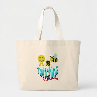 happy2bee twitching dont tell my bird jumbo tote bag