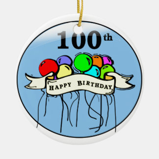 Happy 100th Birthday ballons Christmas Ornament