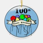 Happy 100th Birthday ballons Christmas Tree Ornaments