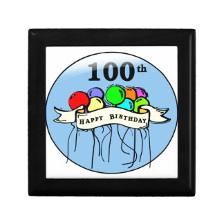 Happy 100th Birthday ballons Small Square Gift Box