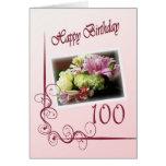 Happy 100th Birthday Card - Flower Bouquet