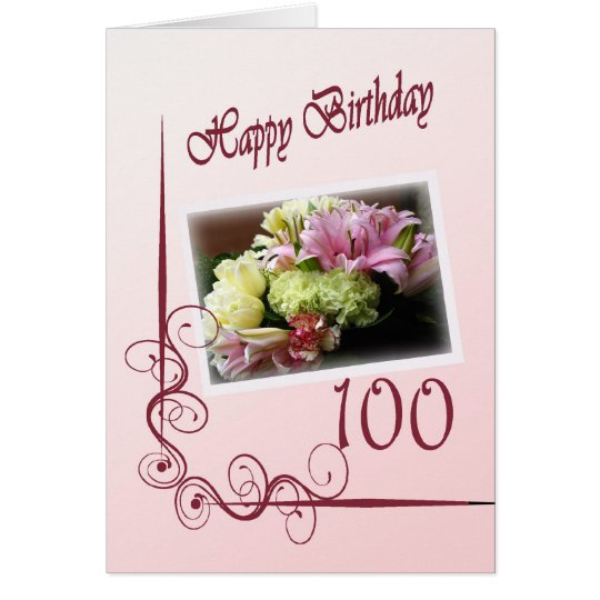 Happy 100th Birthday Card - Flower Bouquet