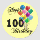 Happy 100th Birthday Gifts and Birthday Apparel Round Stickers