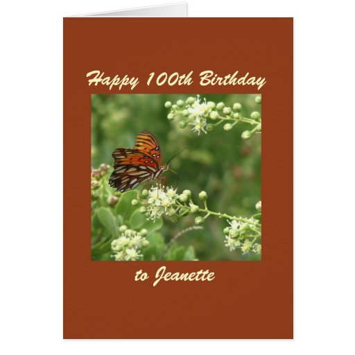 Happy 100th Birthday Greeting Card Butterfly