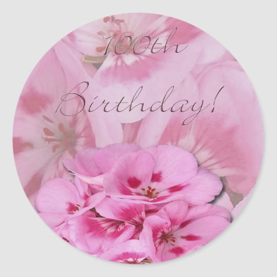 Happy 100th Birthday/hydrangeas Classic Round Sticker