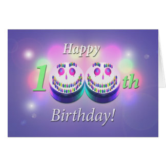 Happy 100th Birthday Smiley Cakes Greeting Card