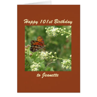Happy 101st Birthday Greeting Card Butterfly