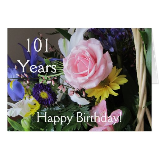 Happy 101st Birthday! Pink Rose Bouquet Card