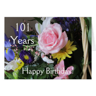 Happy 101st Birthday! Pink Rose Bouquet Greeting Card