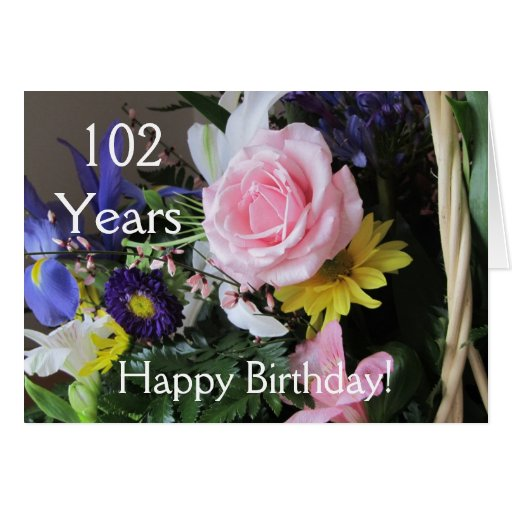 Happy 102nd Birthday! Pink Rose Bouquet Cards