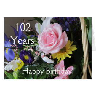 Happy 102nd Birthday Pink Rose Bouquet Cards
