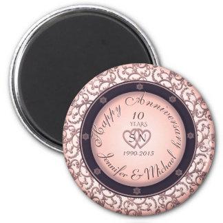Happy 10th Anniversary 6 Cm Round Magnet
