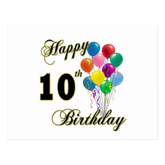 Happy 10th Birthday Gifts And Apparel Postcard