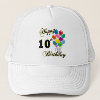 Happy 10th Birthday Gifts and Birthday Apparel Trucker Hat