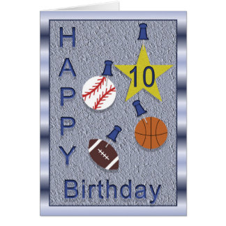 Happy 10th Birthday Sports you personalize Greeting Card