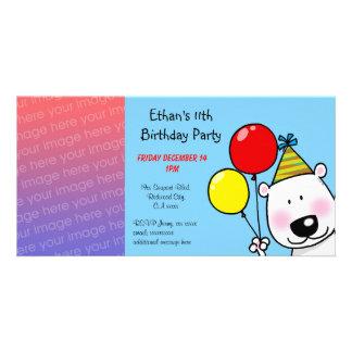 Happy 11th birthday party invitations photo card