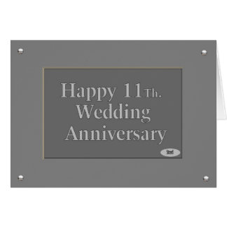 Happy 11Th. Wedding Anniversary Steel Card