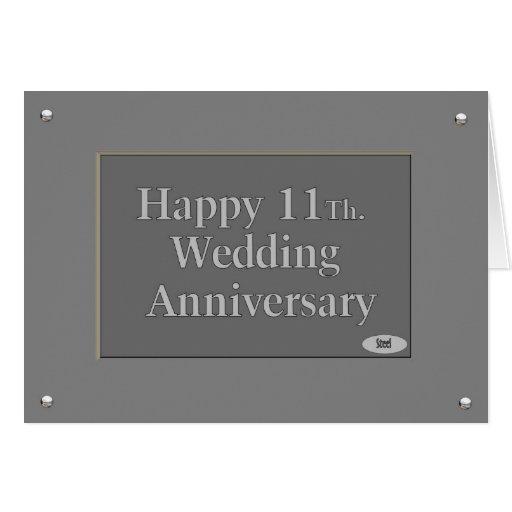 Happy 11Th. Wedding Anniversary Steel Greeting Cards