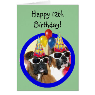 Happy 12th Birthday Boxer greeting card