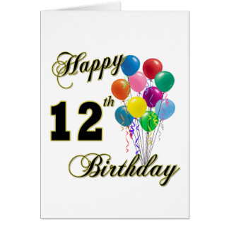 Happy 12th Birthday Gifts and Birthday Apparel Card