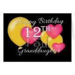 Happy 12th Birthday Granddaughter Greeting Card
