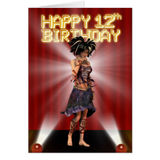 Happy 12th Birthday star deva on the stage Card