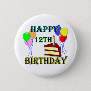 Happy 12th Birthday With Cake Balloons And Candle 6 Cm Round Badge