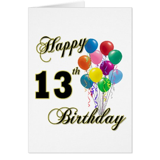 Happy 13th Birthday Gifts and Birthday Apparel Card