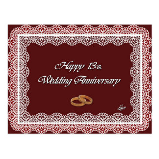 Happy 13Th. Wedding Anniversary Lace Postcard