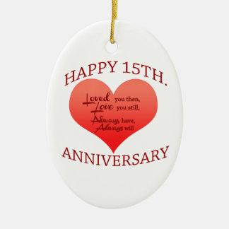 Happy 15th. Anniversary Ceramic Oval Decoration