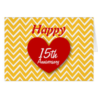 Happy 15th Wedding Anniversary Gold Chevrons B15 Card