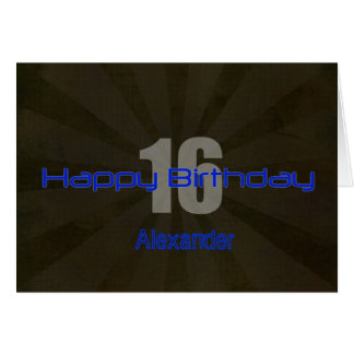 Happy 16th Birthday Black and Gray Teen Greeting Card