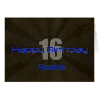 Happy 16th Birthday Black and Gray Teen Card