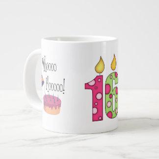 Happy 16th Birthday/Candles+Cake-Customize Name Large Coffee Mug