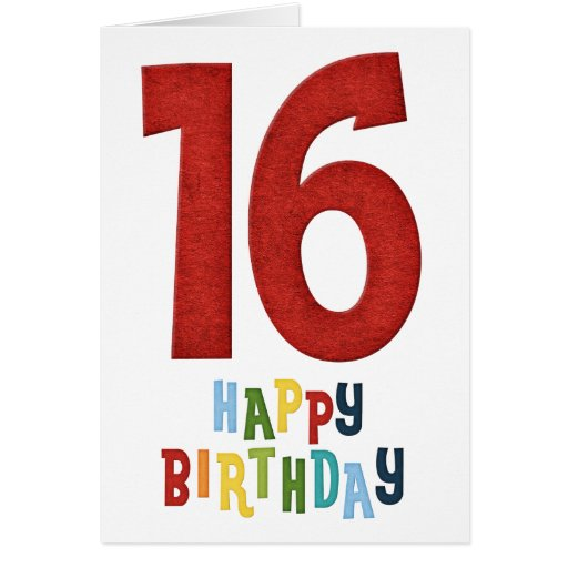 Happy 16th Birthday Colourful Greeting Card