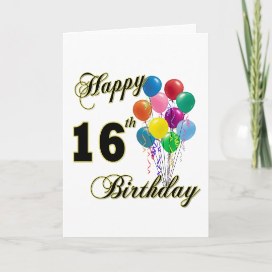 Happy 16th Birthday Gifts And Apparel Card