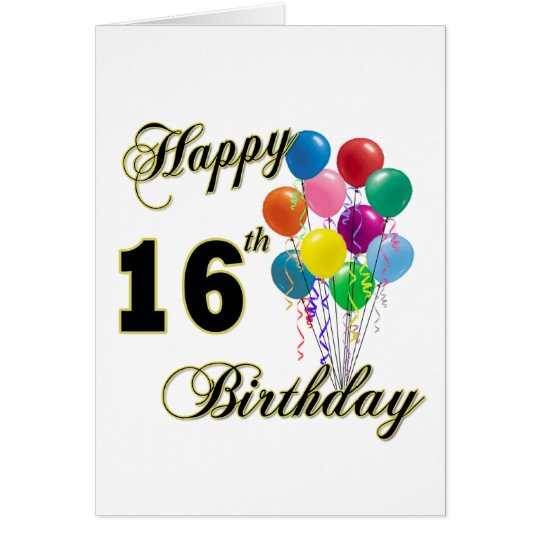 Happy 16th Birthday Gifts and Birthday Apparel Card