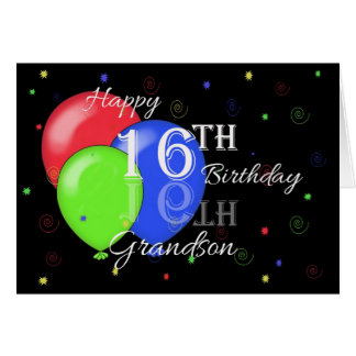 Happy 16th Birthday Grandson Greeting Card