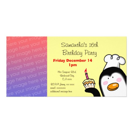 Happy 16th birthday party invitations photo card template
