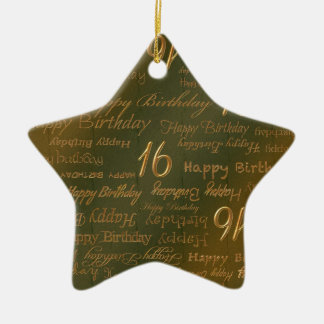 Happy 16th Birthday Weathered Brass Ceramic Star Decoration