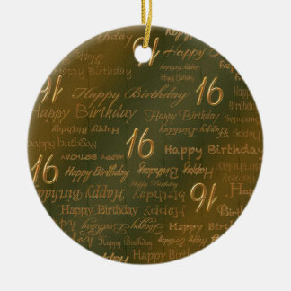 Happy 16th Birthday Weathered Brass Ornament