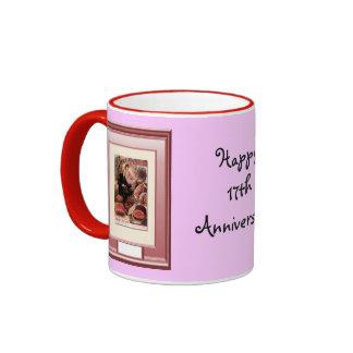 Happy 17th Anniversary, Pink aura Ringer Coffee Mug
