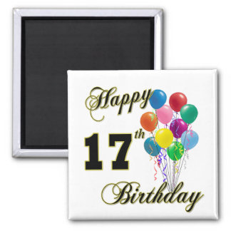 Happy 17th Birthday Design with Balloons Magnet