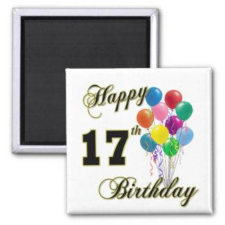 Happy 17th Birthday Design with Balloons Fridge Magnet
