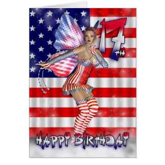 Happy 17th Birthday fairy in her stars and stripes Greeting Card