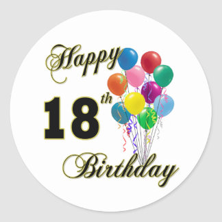 Happy 18th Birthday Gifts Classic Round Sticker