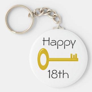 Happy 18th Birthday Keyring Basic Round Button Key Ring