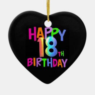 HAPPY 18TH BIRTHDAY MULTI COLOUR CERAMIC HEART DECORATION